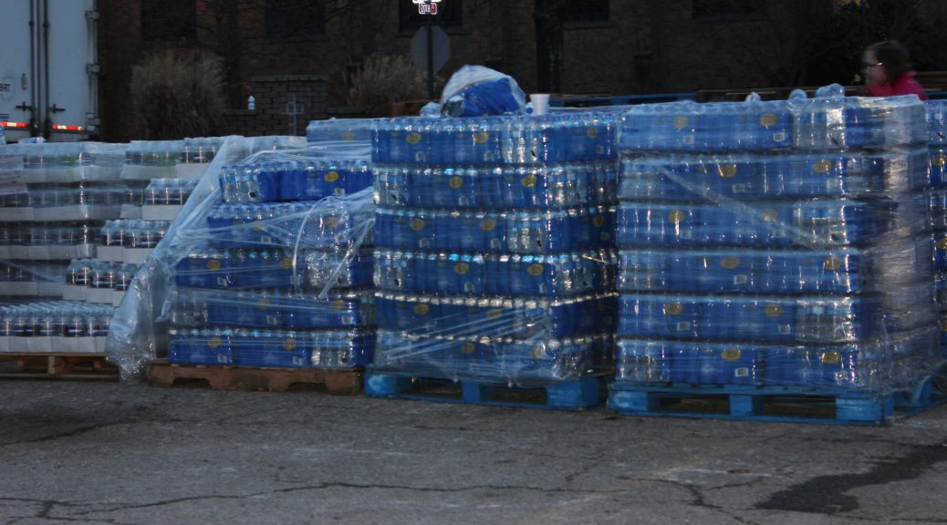Water stacked for distribution after watertables and rivers polluted by Freedom Industries