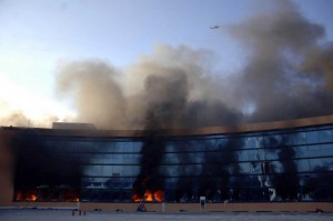 The Geurrero State Congress in flames