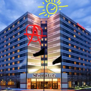 modified image of the Sheraton hotel that was taken over and used as shelter in Minneapolis