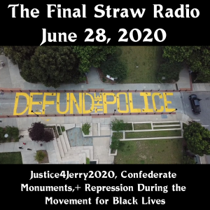 "Aerial of ""Defund The Police"" painted on street by Asheville Police Dept in June, 2020"