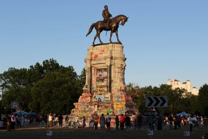 "Robert E Lee statue graffitti'd in ""Marcus David Peters Circle"" in Richmond, VA"