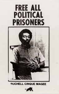 """Free All Political Prisoners"" Black Panther poster for Ruchell Cinque Magee from the 1970s"