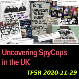 A collection of posters from the #SpyCops campaign