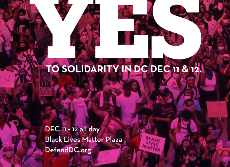 """Yes to solidarity in DC Dec 11 & 12"" from DefendDC.org"