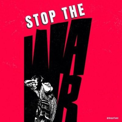"""Stop The War"" with a woman shielding her head and screaming"