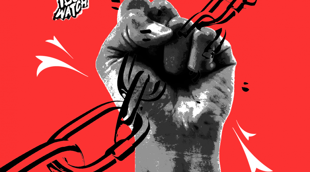 IDOC Watch logo, a fist raising up and crushing a chain over a red background
