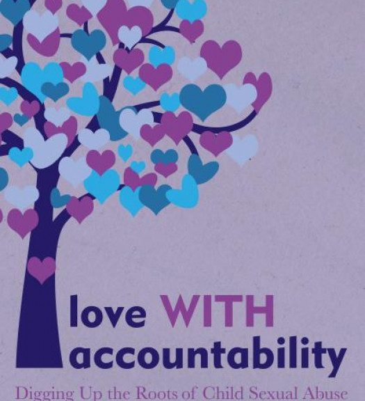 """Book cover of """"love WITH accountability"""", purple color, a tree with leaves appearing as blue, pink and purple flowers"""