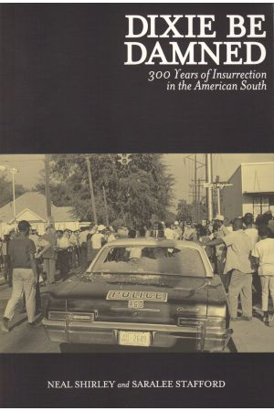 """Book cover of """"Dixie Be Damned"""", featuring African-American folks in the 1960's holding the streets at a march"""