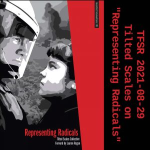 """Book cover of """"Representing Radicals"""" featuring someone facing off a riot cop"""