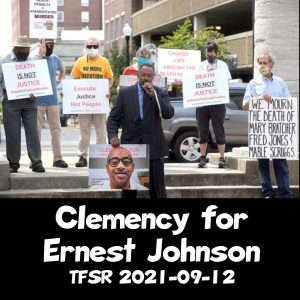 """""""Clemency for Ernest Johnson"""", picturing protest at Boone County courthouse"""