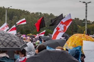 Protest flags in Minsk on September 27, 2020 including black and black & red flags